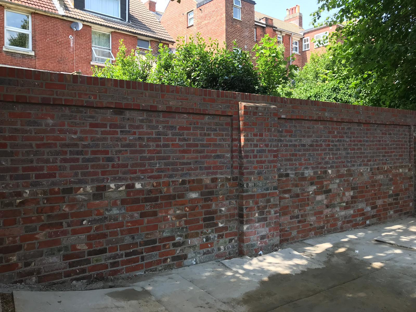 Brick wall after being rebuilt